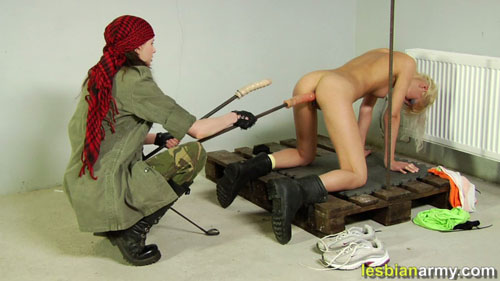Extreme fucking an army pussy with two dildos