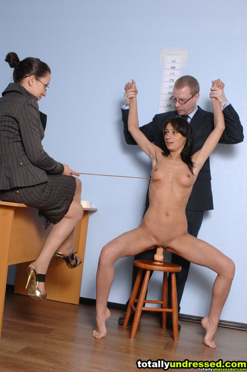 Female and male job interview sex domination