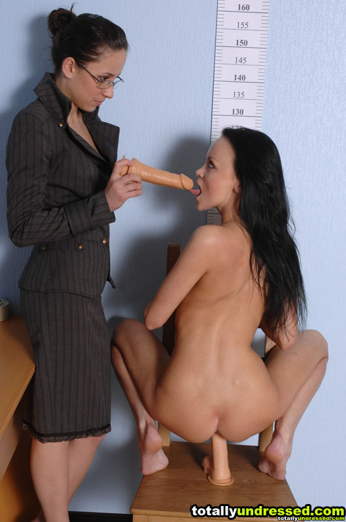Job interview lesdom and double toy fucking